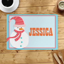 Pink Snowman Personalised Placemat