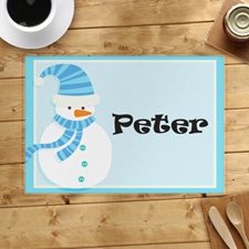 Light Blue Snowman Personalised Placemat