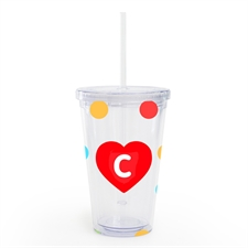Polka Dot Red Heart Personalised Tumbler
