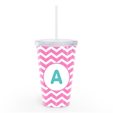 Pink Chevron Personalised Insulated Tumbler