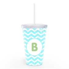 Ocean Chevron Personalised Double Wall Tumbler