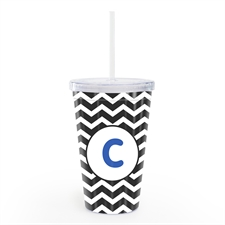 Black Chevron Personalised Double Wall Tumbler