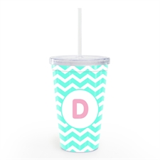 Sky Chevron Personalised Double Wall Tumbler