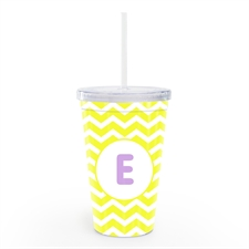 Yellow Chevron Personalised Double Wall Tumbler