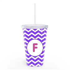 Purple Chevron Personalised Double Wall Tumbler