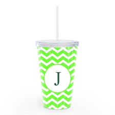 Lime Chevron Personalised Acrylic Double Wall Tumbler