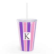 Pink Purple Stripe Personalised Acrylic Double Wall Tumbler