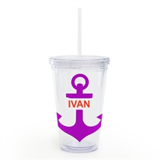 Plum Anchor Personalised Acrylic Double Wall Tumbler