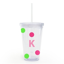 Create Your Own Pink Lime Dots Acrylic Double Wall Tumbler