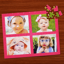 Personalised Pink Four Collage Jigsaw Puzzle
