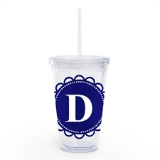 Navy Lace Personalised Acrylic Double Wall Tumbler