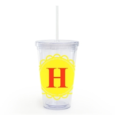 Yellow Lace Personalised Acrylic Double Wall Tumbler