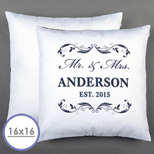 Mr. & Mrs. Personalised White Pillow  Cushion (No Insert)  16 Inch