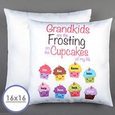 Eight Cupcakes Personalised Pillow Cushion Cover 16