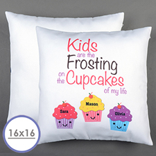 Three Cupcakes Personalised Pillow Cushion Cover 16