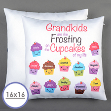 Twelve Cupcakes Personalised Pillow Cushion Cover 16