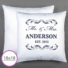 Mr. & Mrs. Personalised Pillow White 18
