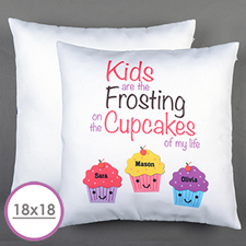 Three Cupcakes Personalised Large Cushion 18