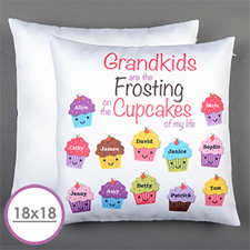 Twelve Cupcakes Personalised Large Cushion 18