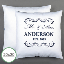 Mr. & Mrs. Personalised Pillow White 20