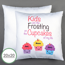 Three Cupcakes Personalised Large Pillow Cushion Cover 20