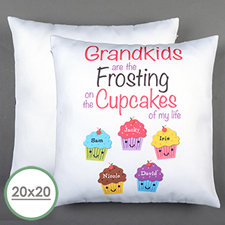 Five Cupcakes Personalised Large Pillow Cushion Cover 20