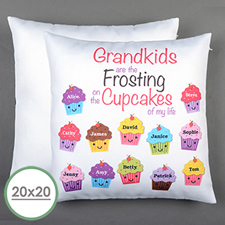 Twelve Cupcakes Personalised Large Pillow Cushion Cover 20