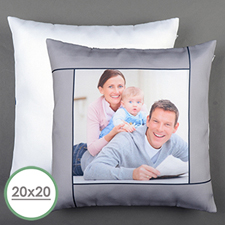 Grey Personalised Large Pillow Cushion Cover 20