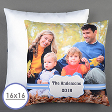 Blue Frame Personalised Pillow Cushion Cover 16