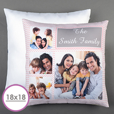 Pink Chevron Collage Personalised Large Cushion 18