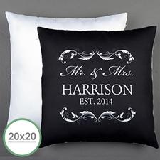 Mr. & Mrs. Personalised Pillow Black 20