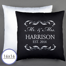 Mr. & Mrs. Personalised Black Pillow Cushion (No Insert)  16 Inch