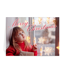 Custom Printed Elegant Script Merry Christmas Greeting Card