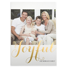 Foil Gold Joyful Personalised Photo Christmas Card