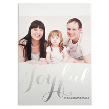 Foil Silver Joyful Personalised Photo Christmas Card