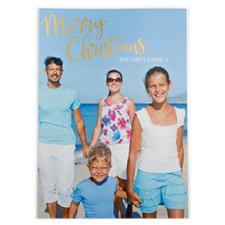 Foil Gold Merry Christmas Personalised Photo Card