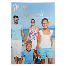 Foil Silver Merry Christmas Personalised Photo Card