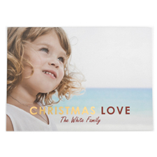 Foil Gold Christmas Love Personalised Photo Card