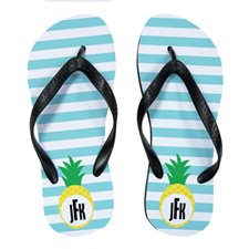 Aqua Stripe Pineapple Personalised Flip Flops, Kids Medium