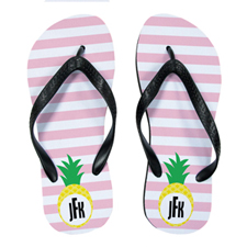 Carol Stripe Pineapple Personalised Flip Flops, Kids Medium