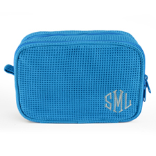 Monogrammed Embroidered Turquoise Cotton Waffle Weave Cosmetic Bag