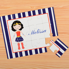 Supergirl Personalised Kids Puzzle, Blue Stripe