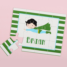 Superboy Personalised Kids Puzzle, Green Stripe