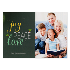 Joy Peace Love Personalised Photo Christmas Card