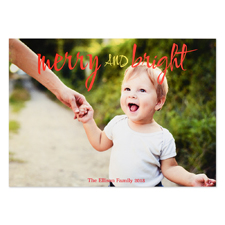 Merry And Bright Personalised Photo Christmas Card