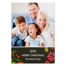Floral Holiday Personalised Photo Christmas Card