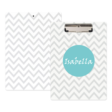 Monogrammed Grey Chevron Personalised Clipboard