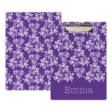 Plum Damask Personalised Clipboard