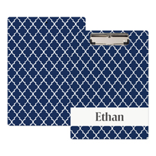 Navy Quatrefoil Personalised Clipboard