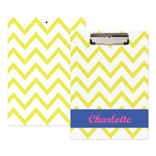 Yellow Chevron Personalised Clipboard